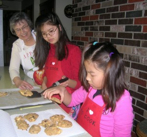 Hardin girls baking 028 2 300x281 No Sugar Oatmeal Cookies